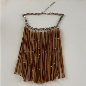 8 inch Tan Suede Fringe Necklace